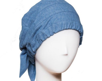 Easy Fit chemo hat. Pre-washed denim. 100% cotton hat for cancer patients.