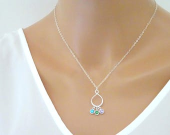 Infinity Birthstone necklace, Family Birthstone Necklace, Personalized Family Jewelry, Bridesmaid necklace, Children Necklace