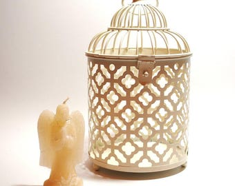 Cream Moroccan Shabby Chic Lantern with Angel Candle