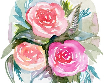 Modern Watercolor Printable Floral - Print your Own Flowers - 8x10 wall art