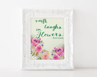 Modern Watercolor Floral - 8x10 Wall Art - Bright Color Handlettering