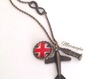 London Necklace, Union Jack Necklace, Love London, London Jewelry, Big Ben Necklace, Plane, Flag, England