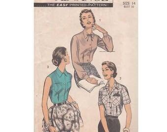 Vintage 1950s Advance 7921 Shirtwaist Blouse with Convertible Neckline Size 14 Bust 32