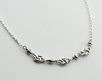 Silver knot necklace, silver gray necklace, knot Necklace, Silver knot necklace, Silver and Stones, black onyx, handmade silver swirls decor