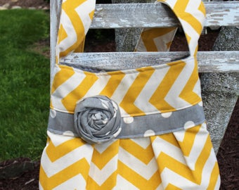 Yellow/Gray Crossbody Bag, Pleated Crossbody Tote, Yellow Chevron Bag, Yellow/Gray Crossbody Purse, Crossbody Bag
