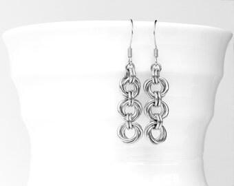 Steel Love Knot Dangle Earrings, 11th Anniversary Gift for Wife, Steel Anniversary 11 Gift, Wife Gift, Girlfriend Gift, Romantic Gift Wife