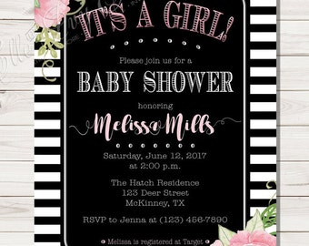 It's a GIRL! Pink Peony Baby Shower Invitation - Black and White Stripes with Pink Flowers