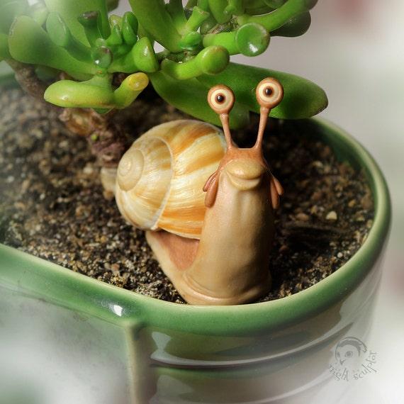 Snail funny - OOAK Handmade figurine made of polymer clay