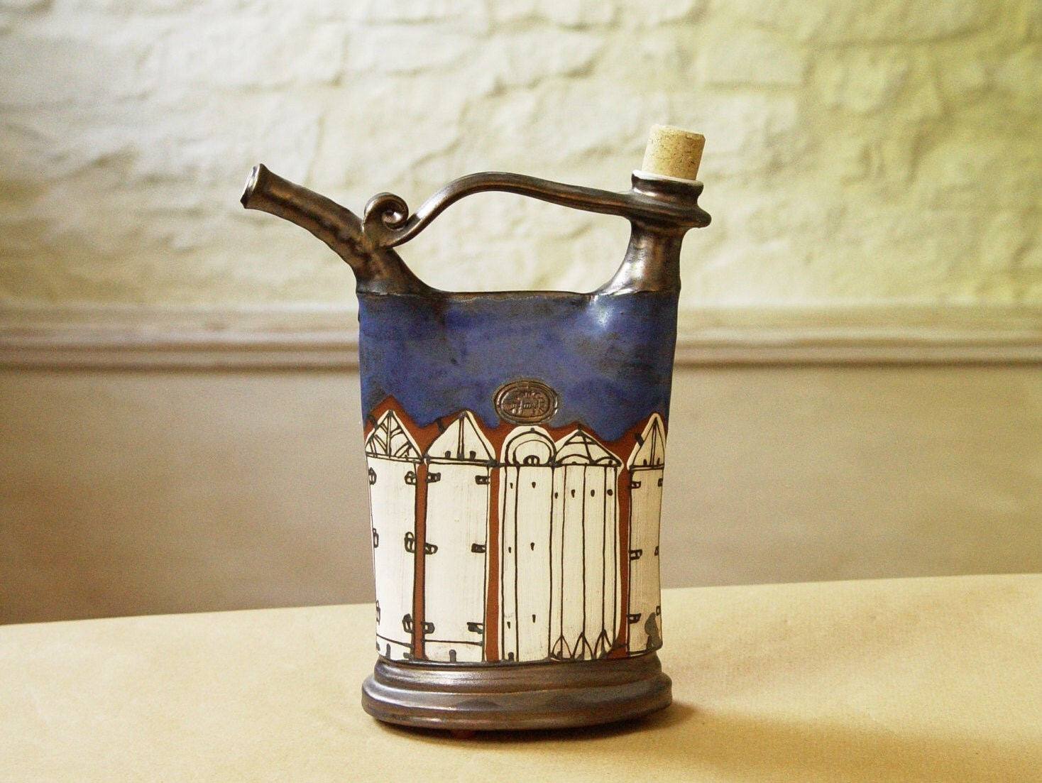 Handmade Blue Pottery Pitcher Ceramics And Pottery Bottle