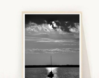 Black and White Photo, Moon and Boat Print, Printable Wall Art, Moon Photography, Moon on Water,Modern Wall Art, Downloadable Photo