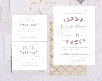 Personalised Printable Wedding Invitation Set; Invite, RSVP, Details Card, Adeline Floral Collection