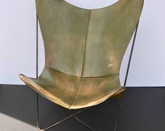 vintage Hardoy chair in sage green leather...