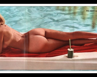 "Mature Playboy August 1970 : Playmate Centerfold Sharon Clark 3 Page Spread Photo Wall Art Decor 11"" x 23"""