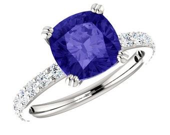 Platinum, 8mm Cushion Tanzanite & Diamond Ring, Anniversary Gifts, Cyber Monday Black Friday, Christmas Gifts for Women, Tanzanite Rings