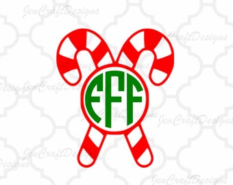 Candy Cane. SVG, DXF, EPS,Png Christmas monogram frame cut file for use with Silhouette Studio and Cricut Design Space