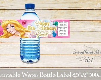 Aurora water bottle labels, Sleeping beauty water bottle labels, Princess Aurora labels, Aurora birthday party, Printable bottle labels