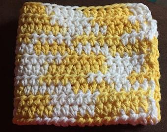 Crocheted Dishcloths Yellow & White