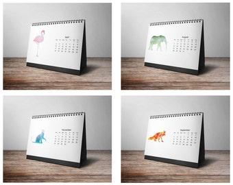 2017 Calendar, 2017 Printable Calendar, Desk Calendar, Animal Calendar, Instant Download, Minimalist Calendar, Calendar