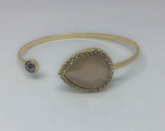 Bangle - blush bangle - teardrop bangle - cuff - bracelet