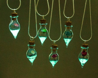 Glow in the Dark Terrarium Necklace Glass Pendant girlfriend gift Glowing Flower Bottle Vial Necklace Real Dried Flower Best-Friend-Gift