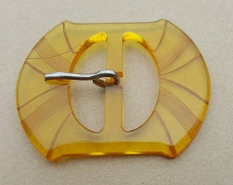 Yellow Apple juice Bakelite Buckle 1930s Translucent Etched Rockabilly Fashion
