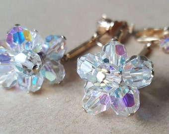 Vintage Signed Vendome  Jewelcraft Couture  AB Glass Crystal Cluster Long  Drop Dangly Clip On Earrings 1960s
