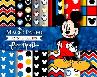 50% OFF SALE Mickey Mouse Digital Paper Clipart Clip Art