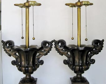 Large Italian Urn Lamps, Pair