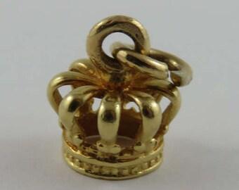 King/Queen's Crown 18K Gold Vintage Charm For Bracelet