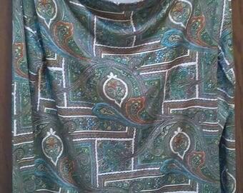 PRADA silk sweater top blouse paisley green ivory, sz M to L
