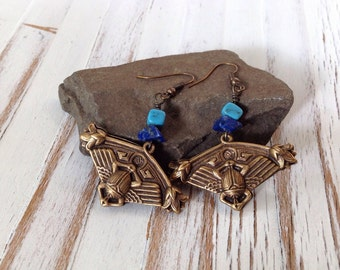 Egyptian Scarab Earrings with Lapis and Turquoise // Dangle Earrings //
