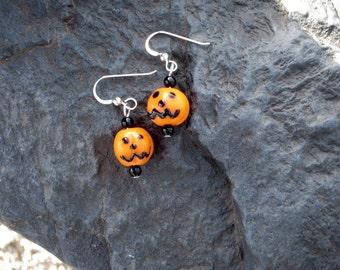 Jack O Lantern Glass Bead Earrings - Halloween