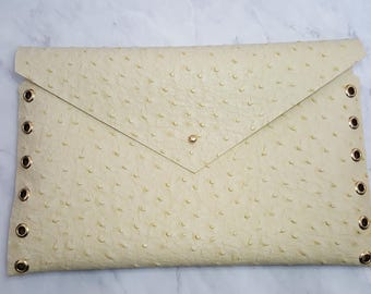 Yellow Ostrich Envelope Clutch