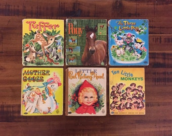 1950's-1960's Childrens Books/ Mother Goose/ Little Red Riding Hood/ Tuffer/ Ten Little Monkeys/ Pony/ Three Little Pigs