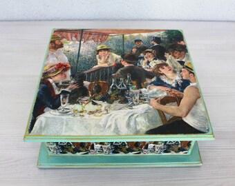 20% Sale Jewelry Box Large Tea Box Handmade Wood One of a kind Women's Gift Greenery BoxJewelry Box Renoir Gift For Women Wooden Jewelry Box