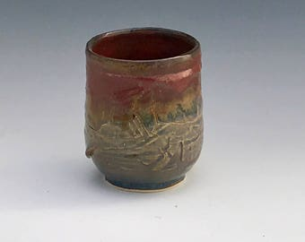One Blue and Bronze/Rust Yunomi Cup - Ceramic Yunomi Cup - Pottery Yunomi Cup - Whiskey Cup - Tea Cup - Wheel Thrown Yunomi Cup