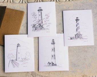 NC Lighthouses Note Card Set | Blank Note Cards | Hand Drawn | Pen and Ink Drawing
