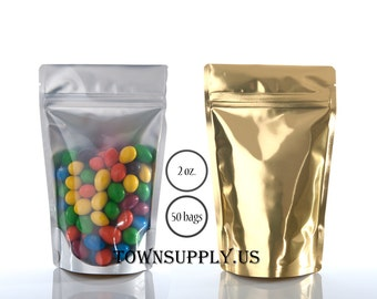 50 - 2 oz clear stand up pouches with gold foil lined back, storage bags, food grade packaging, resealable ziplock package, DIY favor bags