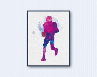 American Football Watercolor Poster (Purple Version)