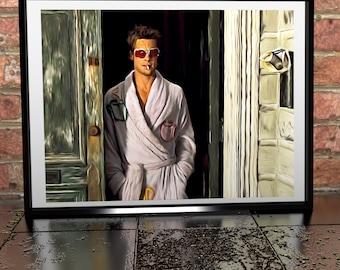 Brad Pitt Fight Club Painting Poster Print - Brad Pitt illustration - Film Illustration - Tyler Durden Painting Illustration Art