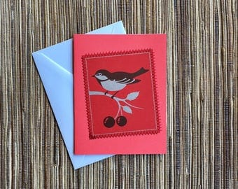sparrow & cherries - hand made upcycled card