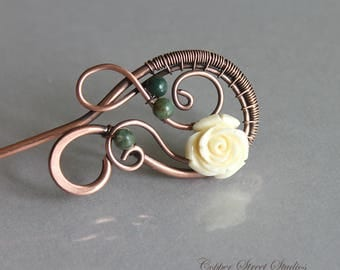 Hair Stick Copper with Cream Rose Flower and Green Moss Agate Stones, Flower Hair Fork Copper Wire Wrapped, Metal Hair Accessories for Women