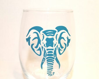 Elephant wine glass, stemless wine glass, 21 oz. wine glass, elephant glass, elephant decor, elephants, tribal elephant glass, wine glass