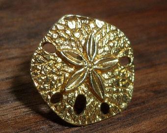 Goldtone Sand Dollar Lapel Pin