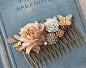 Boho Wedding Hair Accessories -  Bridal Floral Hair Piece- Floral Hair Comb - Wedding Comb - Wedding Hair Comb for Her - Hair Comb