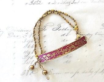 Bar Jewelry Bracelet - Delicate Bracelet - Floral Bracelet - Romantic Jewelry - Bracelet for Wife - Jewelry For Mom - Pink Bracelet