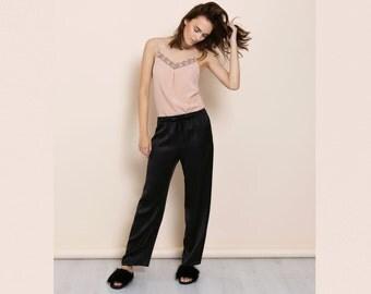 BLACK silk pajama pants / luxury nightwear / sleep pants / gift for her