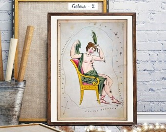 Star Charts, The constellation Cassiopeia, Celestial Vintage Print, Constellations Chart