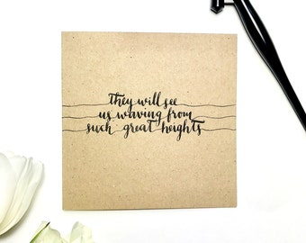 Such Great Heights, The Postal Service greeting card, lyrics, typography