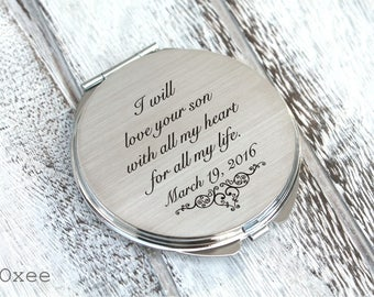 Personalized engraved pocket mirror | compact mirror | wedding gift | mother of the groom gift from bride | birthday